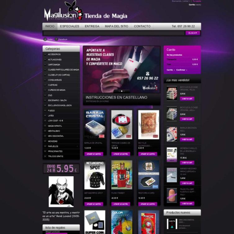 Página Web Magilusion Tienda de Magia