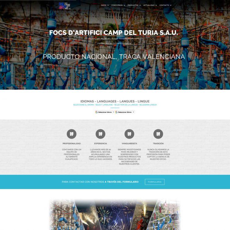 Página Web Pirotecnia Focs Artifici Camp del Turia