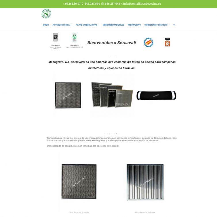 Página Web Sercaval Venta de Filtros