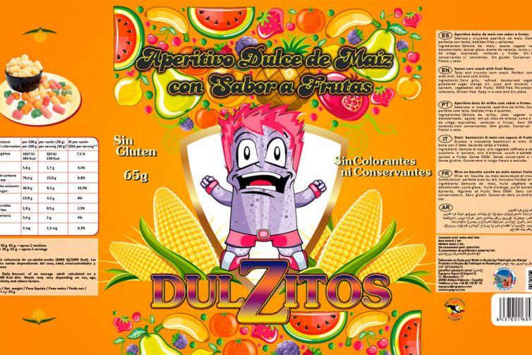 Diseño Bolsa de Aperitivos de Maíz Dulzitos